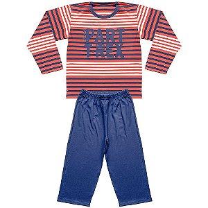 Pijama Juvenil Look Jeans Longo Listra Laranja