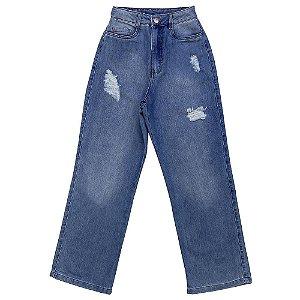 Calça Look Jeans Wide Leg Jeans