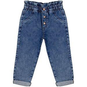 Calça Infantil Look Jeans Cenoura Moletom Jeans