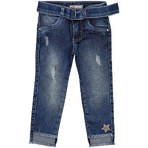 Calça Infantil Look Jeans Skinny c/ Cinto Jeans