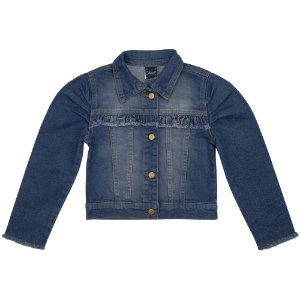 Jaqueta Infantil Look Jeans c/ Babado Jeans