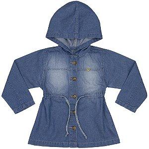 Jaqueta Infantil Look Jeans Parka c/ Capuz Jeans