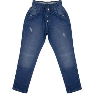 Calça Juvenil Look Jeans Cenoura Moletom Jeans
