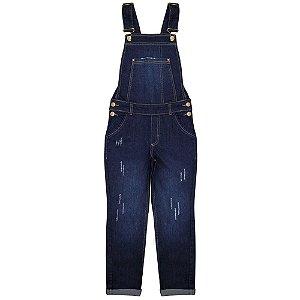 Jardineira Juvenil Look Jeans Longa Jeans