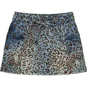 Saia Juvenil Look Jeans c/ Bolsos Animal Print Jeans