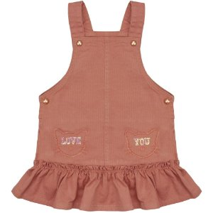 Salopete Infantil Look Jeans Cotelê Rosê