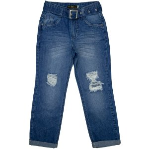 Calça Juvenil Look Jeans Mom c/ Cinto Jeans