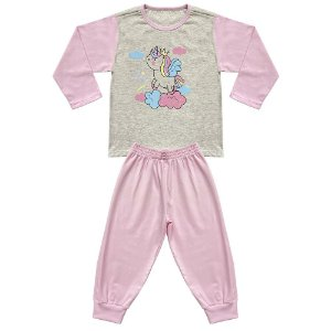 Pijama Infantil Look Jeans Longo Unicórnio Mescla/Rosa