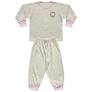 Pijama Infantil Look Jeans Longo Mescla