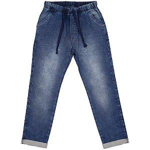 Calça Juvenil Look Jeans Moletom Jeans