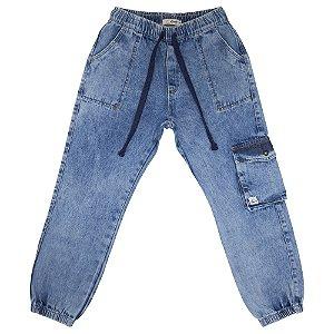 Calça Juvenil Look Jeans Bolso Utilitário Jeans