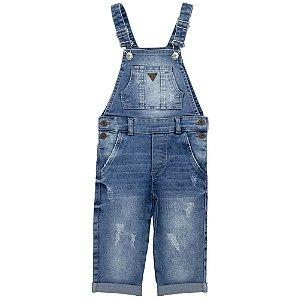 Jardineira Infantil Look Jeans Longa Jeans