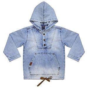Blusão Infantil Look Jeans c/ Capuz Jeans