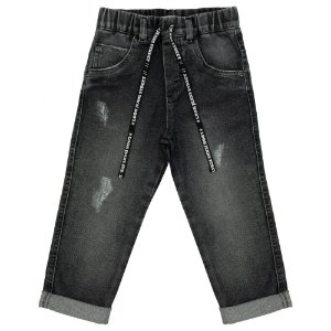 Calça Infantil Look Jeans Reta Moletom Jeans Black