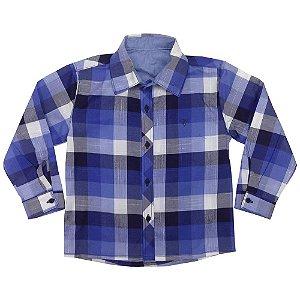 Camisa Infantil Look Jeans Manga Longa Xadrez