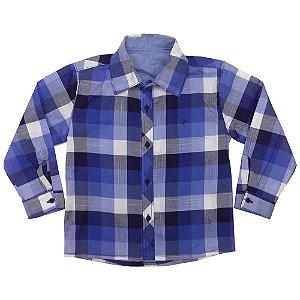 Camisa Juvenil Look Jeans Manga Longa Xadrez