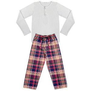 Pijama Juvenil Look Jeans Longo Branco/Xadrez