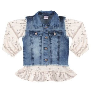 Colete Look Jeans c/ Blusinha Jeans