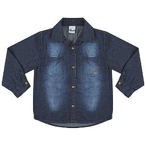 Camisa Look Jeans Manga Longa Azul