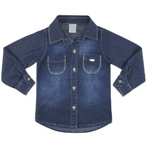 Camisa Look Jeans c/ Strass Jeans Azul
