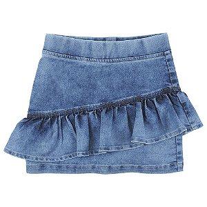 Saia Look Jeans c/ Babado Jeans