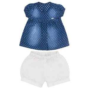 Conjunto Look Jeans Bata + Shorts Azul