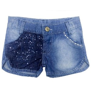Short Look Jeans c/ Renda Jeans
