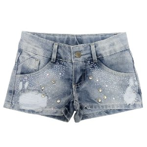 Short Look Jeans c/ Strass Jeans