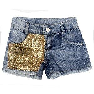 Shorts Look Jeans c/ Paetês Jeans
