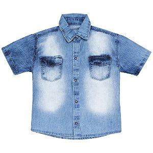Camisa Look Jeans Manga Curta Jeans