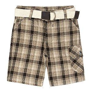 Short Look Jeans c/ Cinto Xadrez Bege