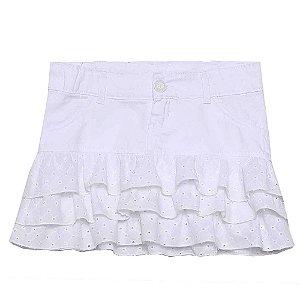 Saia Look Jeans Sarja Branco