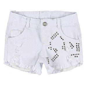 Shorts Look Jeans Barra Desfiada Branco