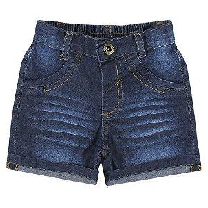 Shorts Bebê Look Jeans Barra Dobrada Jeans