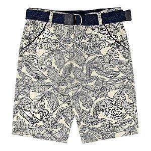 Bermuda Look Jeans c/ Cinto Bege