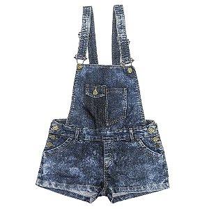 Jardineira Look Jeans Marmorizado Jeans