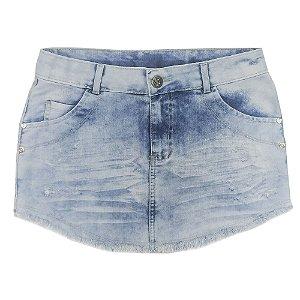 Saia Look Jeans Barra Desfiada Jeans