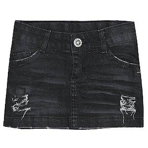 Saia Look Jeans Curta Black