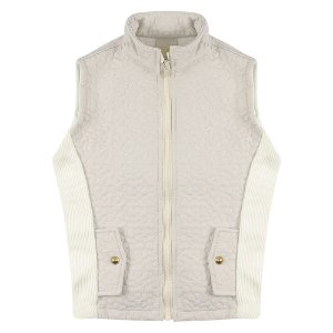 Colete Look Jeans Matelassê Off-White