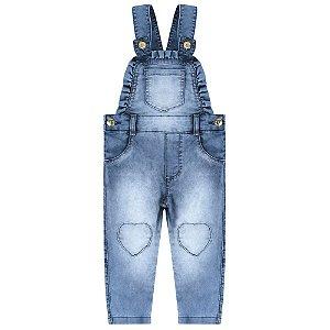Jardineira Look Jeans Longa Jeans