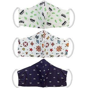 Kit 3 Máscaras Bico de Pato Kids Tecido Estampado