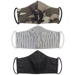 Kit 3 Máscaras Bico de Pato Masculino Adulto Tecido Estampado