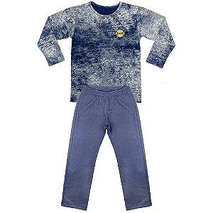 Pijama Look Jeans Menino Longo Azul