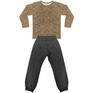 Pijama Look Jeans Menina Longo Onça