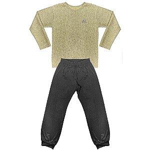 Pijama Look Jeans Menina Longo Bege