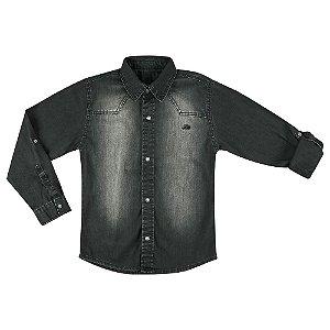 Camisa Look Jeans Manga Longa Black