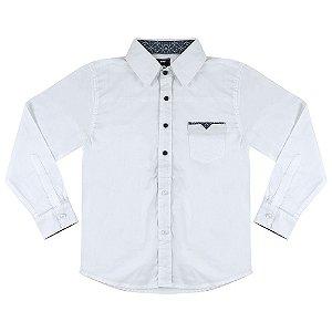 Camisa Look Jeans Manga Longa Branca