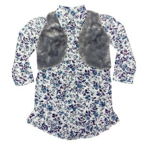 Vestido Look Jeans Chamise c/ Bolero Estampada