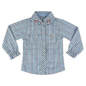 Camisa Look Jeans Xadrez Azul