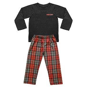 Pijama Infantil Look Jeans Pai e Filho Laranja/Preto